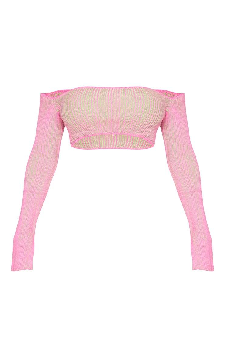 Shape Hot Pink Contrast Knit Bardot Crop Top 5