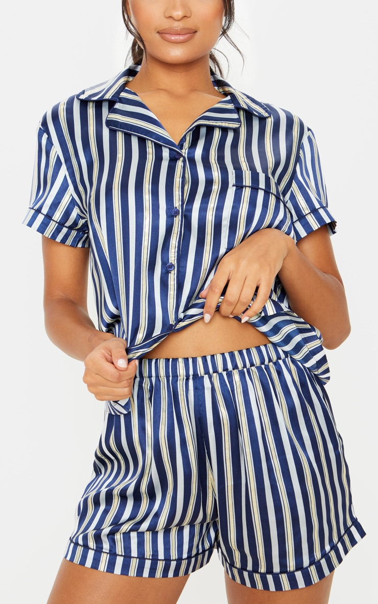 Navy Stripe Print Short Satin Pajama Set 5