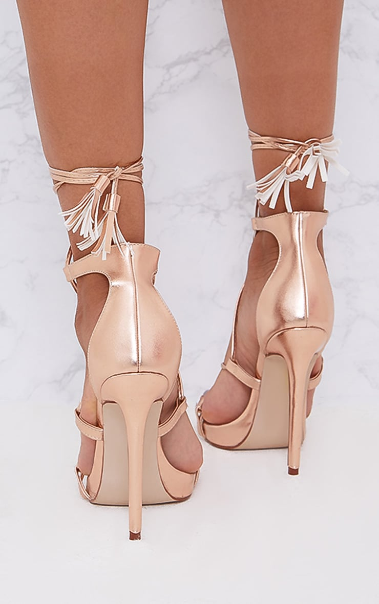 Rose Gold PU Tassel Lace Up Heels 4