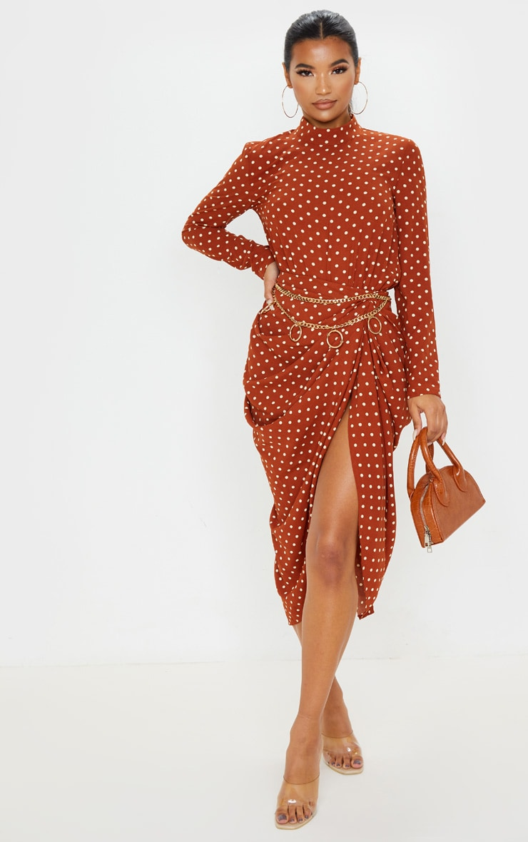 Terracotta Polka Dot Split Side Midi Skirt 1
