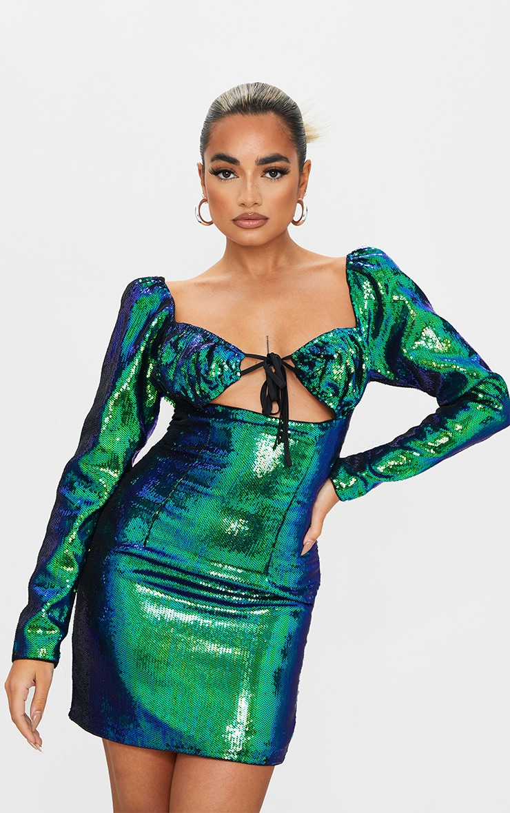Petite Emerald Green Ruched Puff Sleeve Bodycon Dress 1
