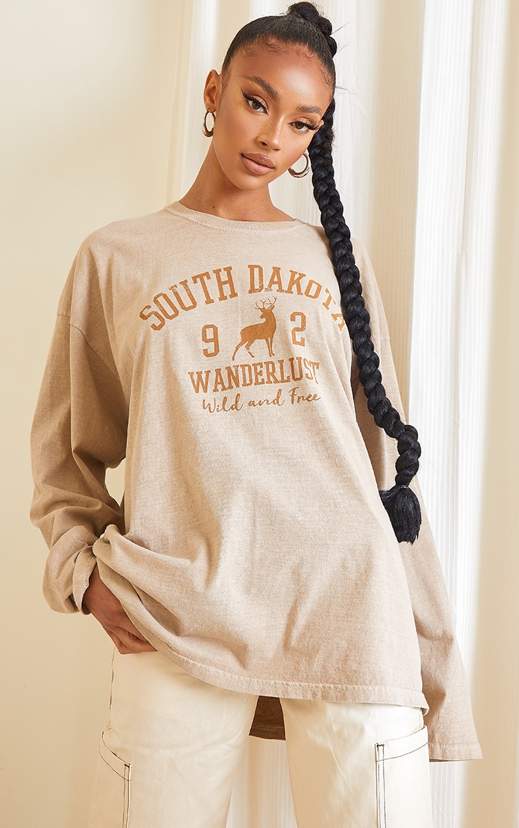 Sand Washed South Dakota Printed Long Sleeve T Shirt 1