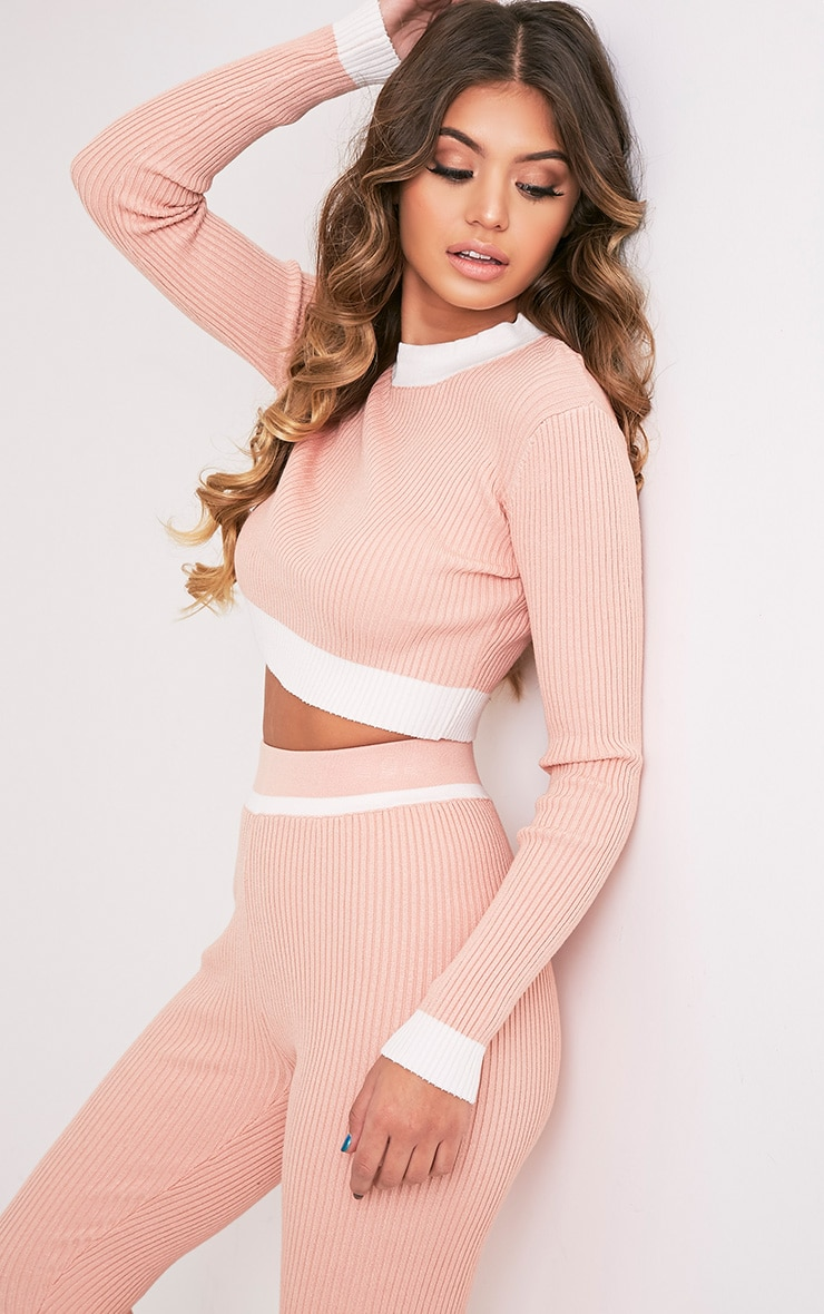 Sufiya Nude Colour Blocked Knit Ribbed Crop 4