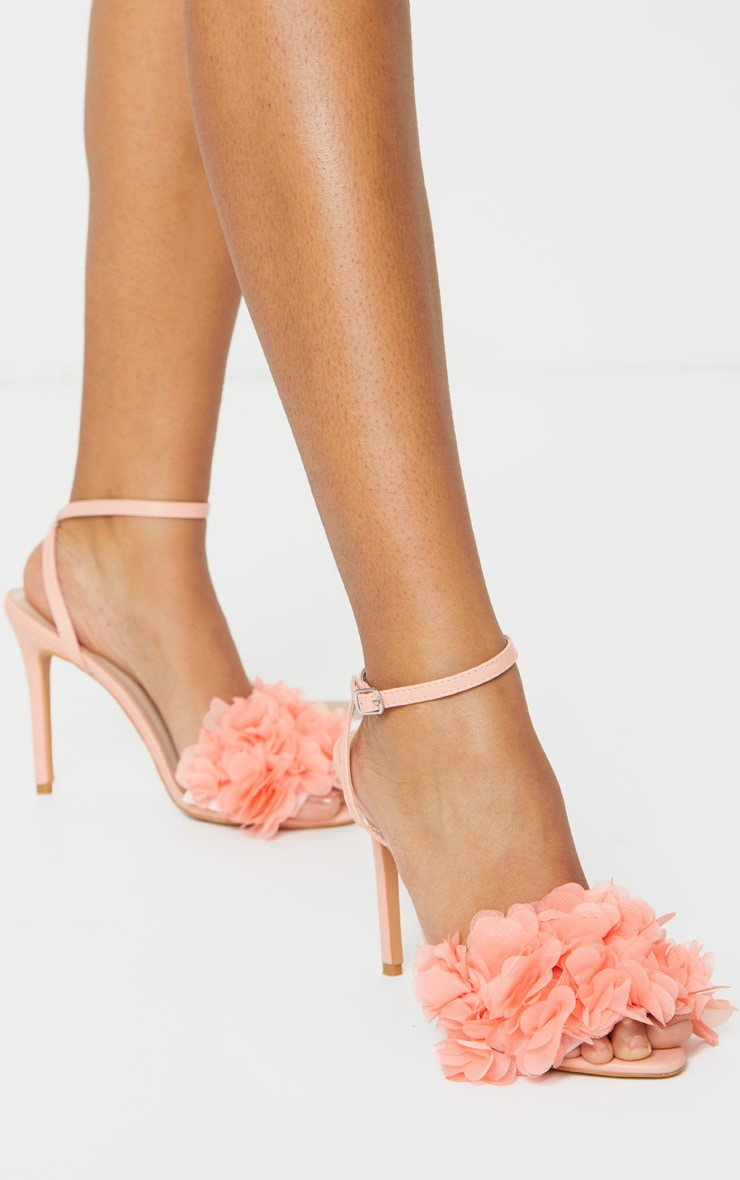 Peach Flower Embellished Strappy Heeled Sandals 2
