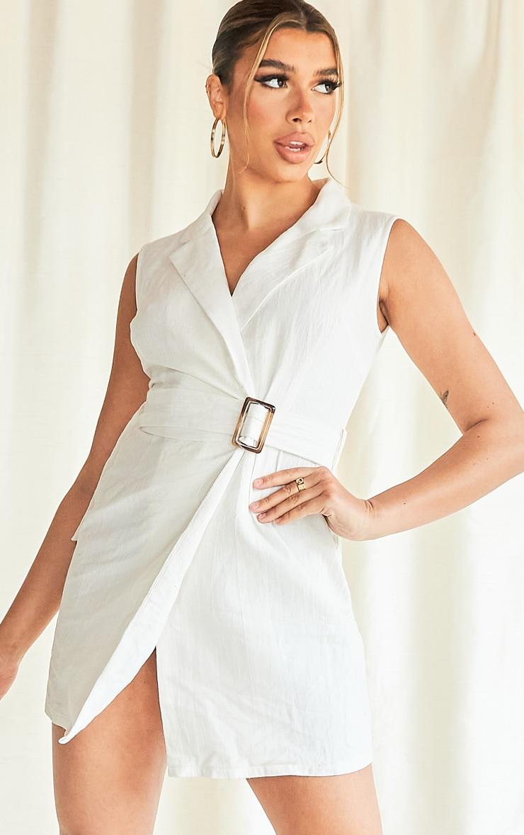 White Sleeveless Tortoise Shell Belt Detail Blazer Dress 3