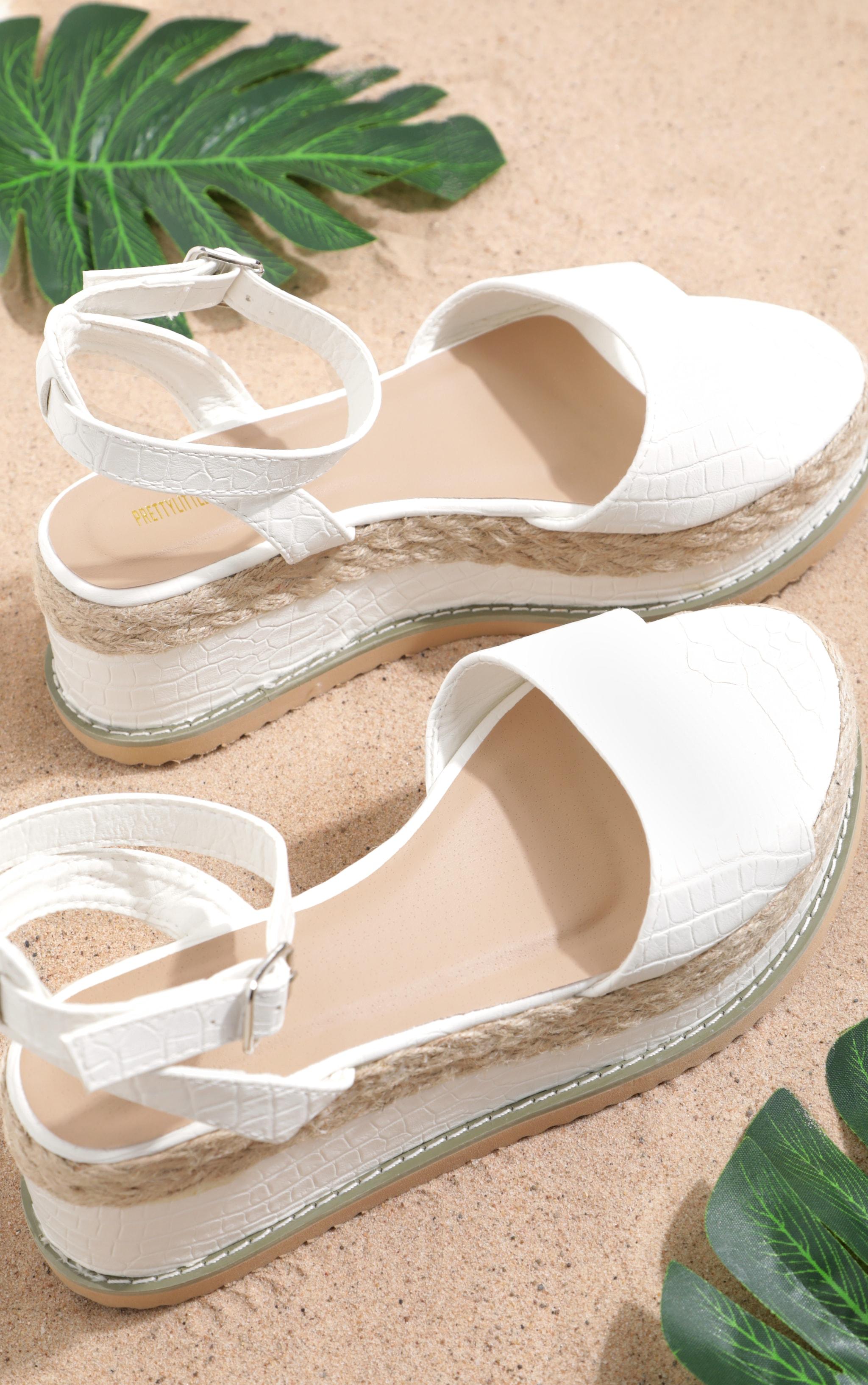 White Croc Faux Leather Flatform Sandal, White