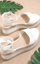 White Croc Faux Leather Flatform Sandal 1