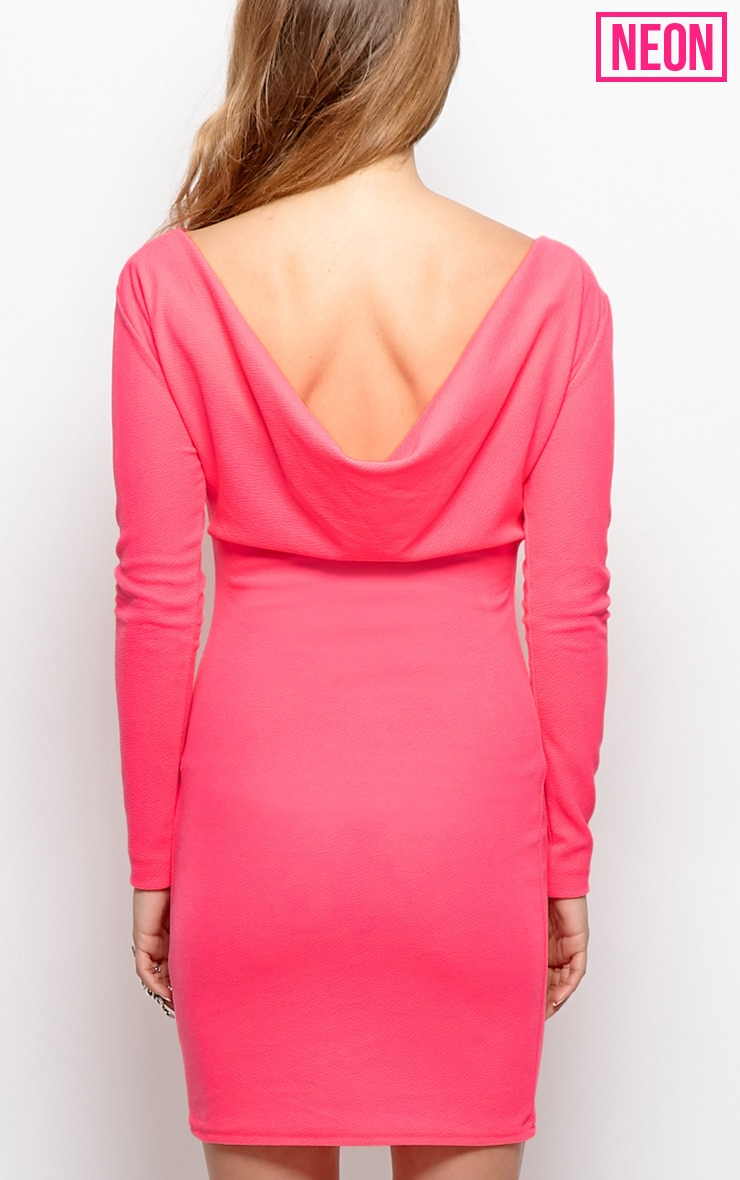 Gracie Neon Pink Cowl Back Dress 3