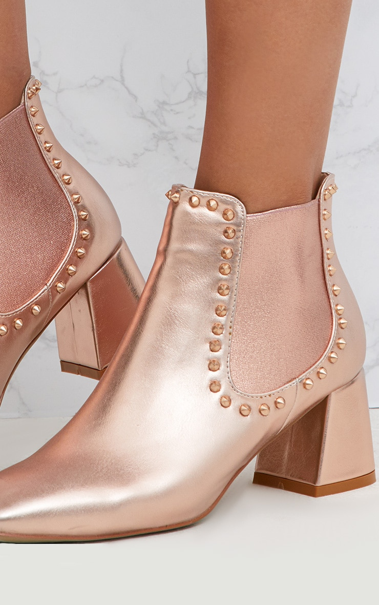 Rose Gold Studded Block Heeled Ankle Boots 5