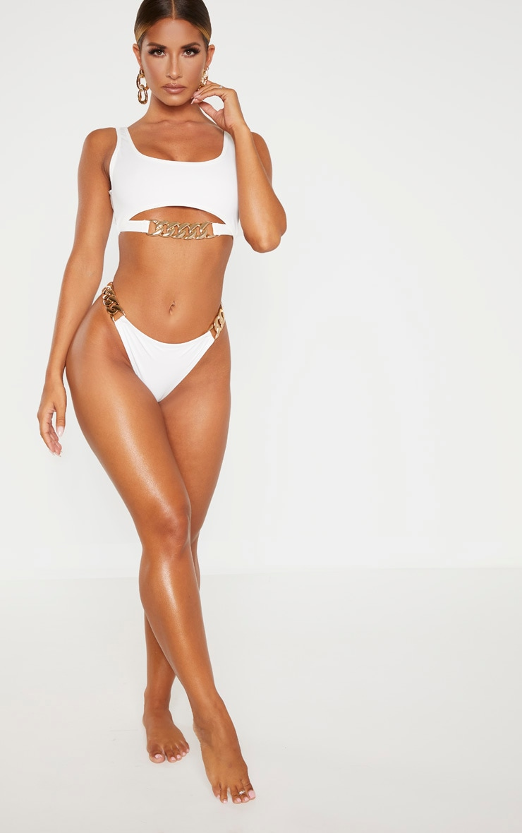 White Chunky Chain Double Strap Bikini Bottom 4