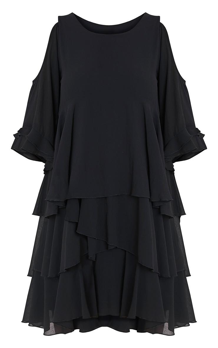 Tessa robe trapèze noire volantée à épaules découvertes 3