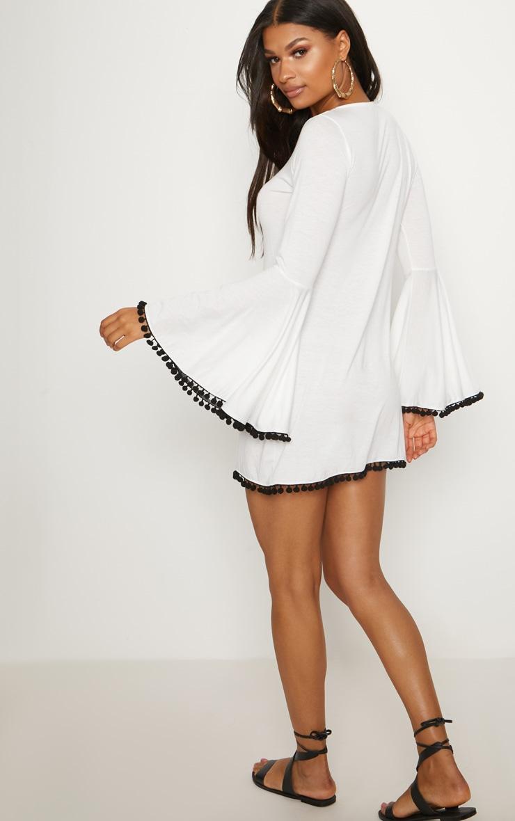 White Pom Pom Lace Trim Fluted Sleeve Skater Dress 2