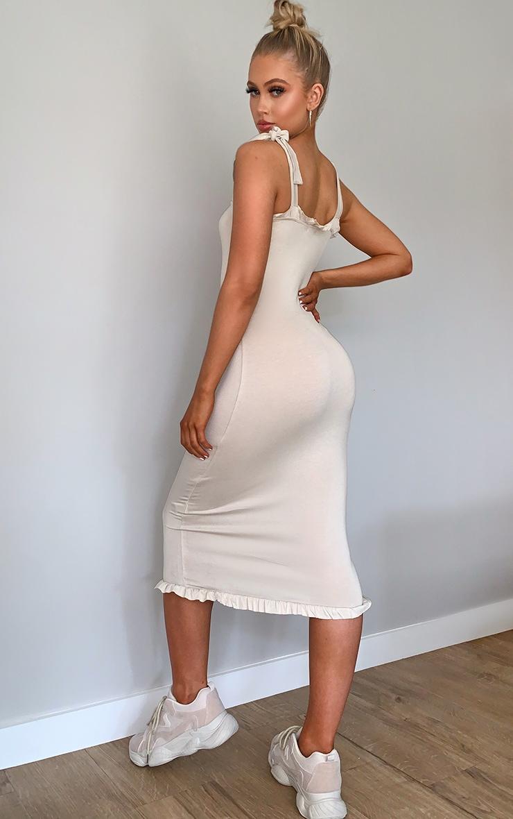 Stone Tie Shoulder Frill Midi Dress 2