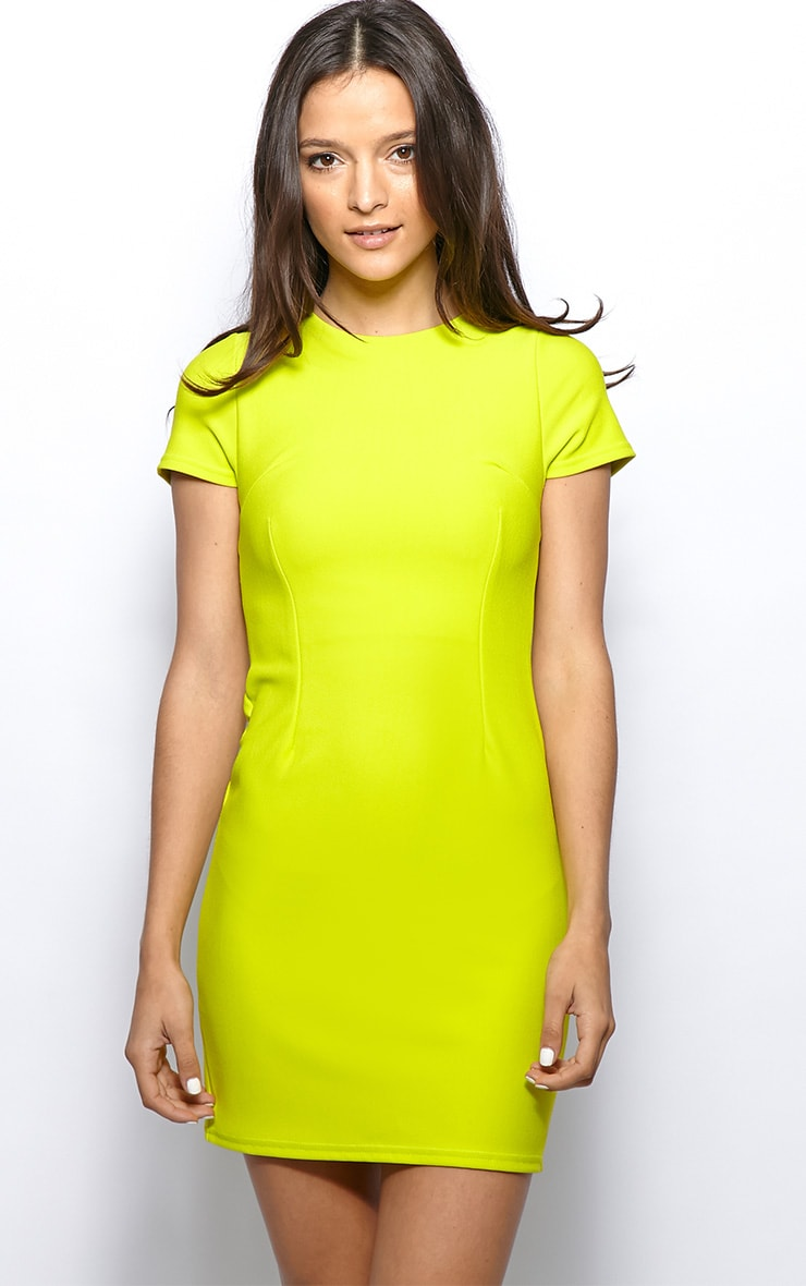 Lillie Lime Ribbed Bodycon Mini Dress 1