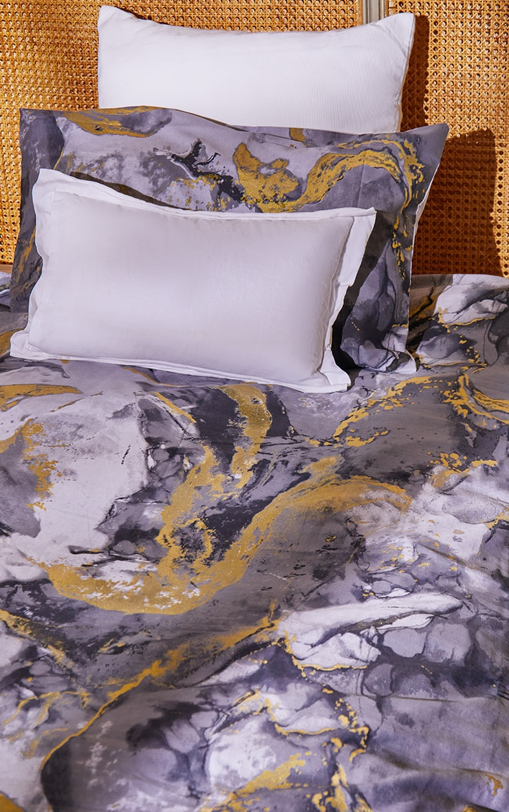 Grey with Gold Marble Print Single Duvet Set 1