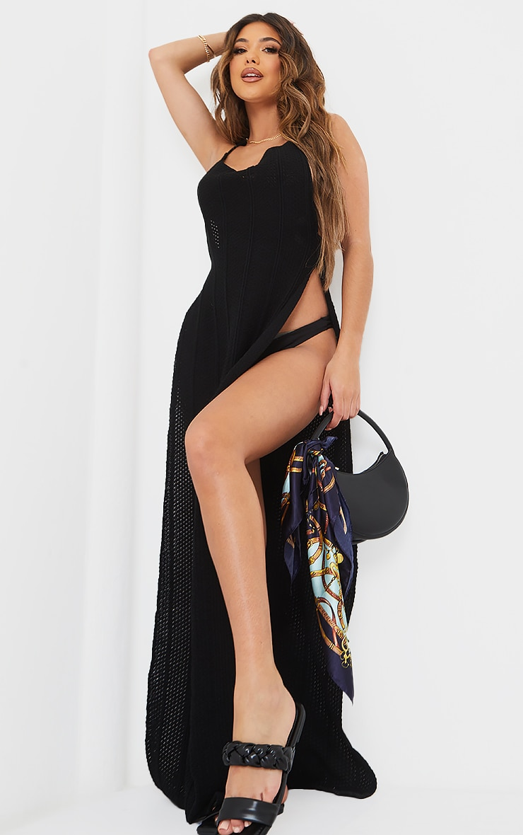 Black Crochet Halter Neck Side Split Maxi Dress 1