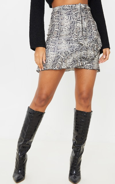 Snake Print Wrap Over Mini Skirt