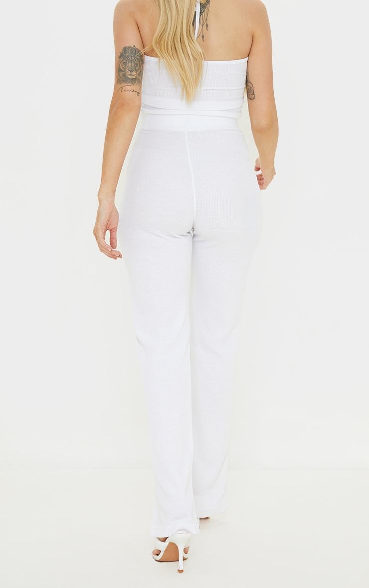 Maternity White Waffle Wide Leg Trousers 3