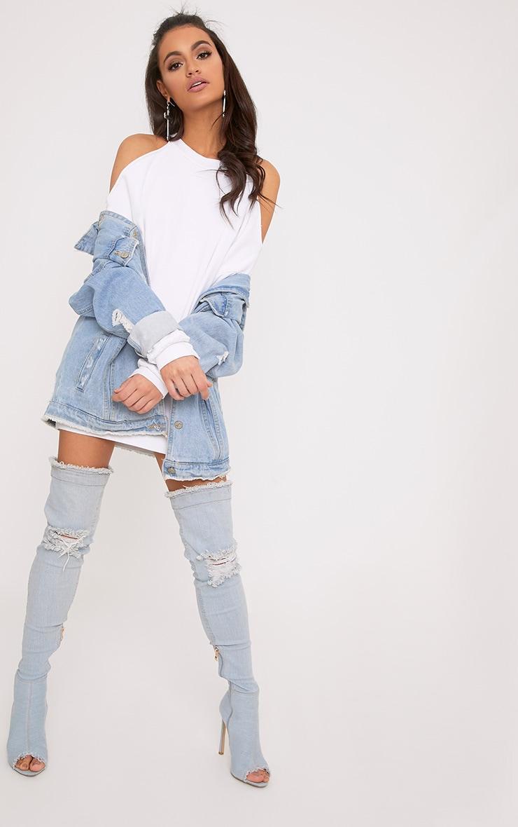 Subazza White Cold Shoulder Sweater Dress 4