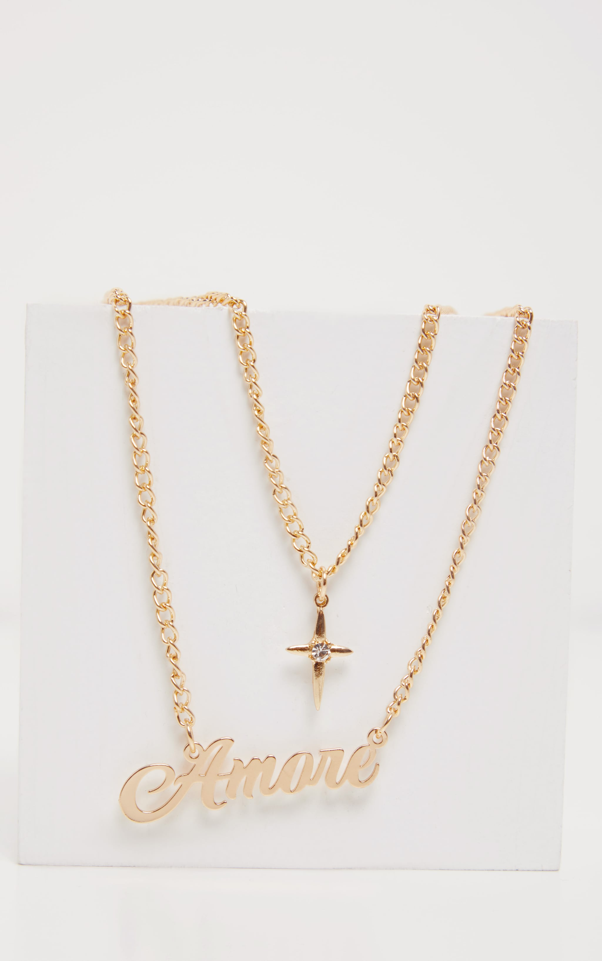 Gold Amore And Dagger Long Chain Layering Necklace 4