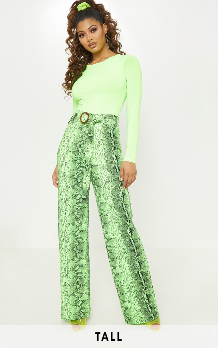 Tall Neon Lime Snake Print Wide Leg Trouser 1