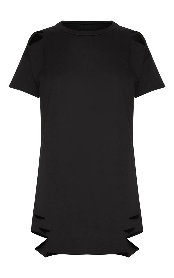 Orla Black Distressed Short Sleeve T-Shirt Dress 3