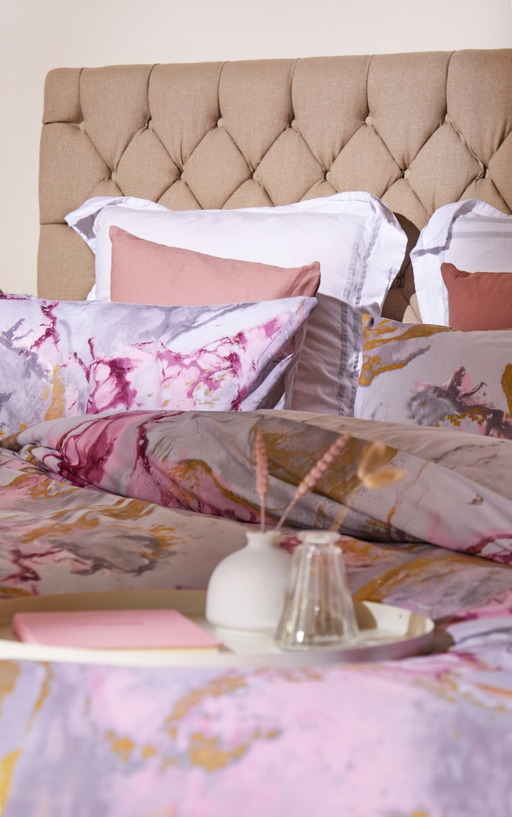 Pink with Gold Marble Print Double Duvet Set 2