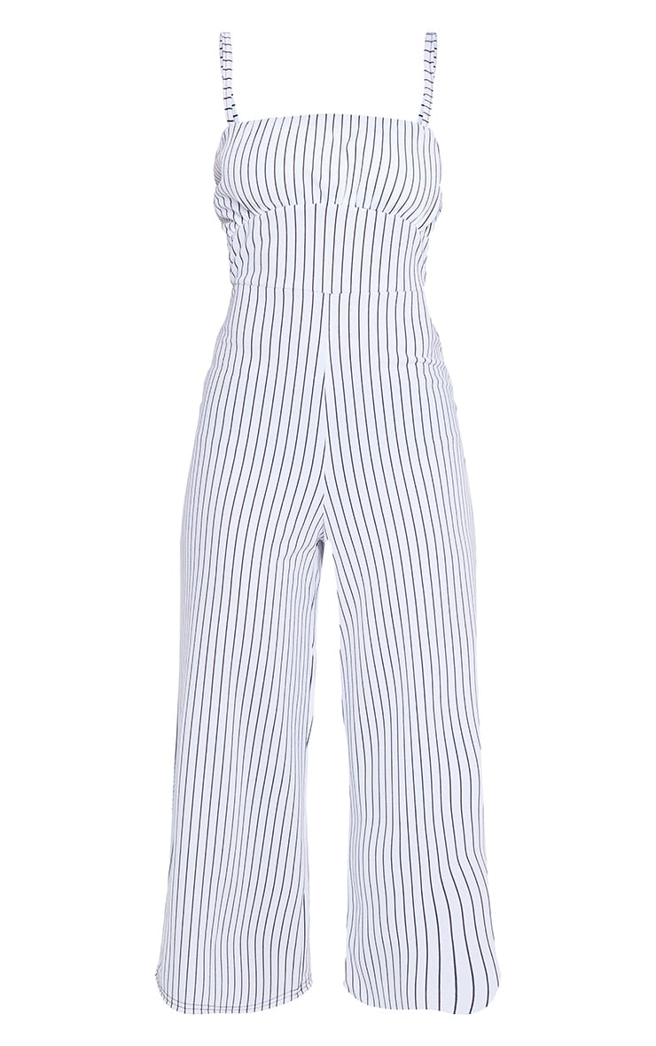 White Pinstripe Ruched Bust Strappy Culotte Jumpsuit 5