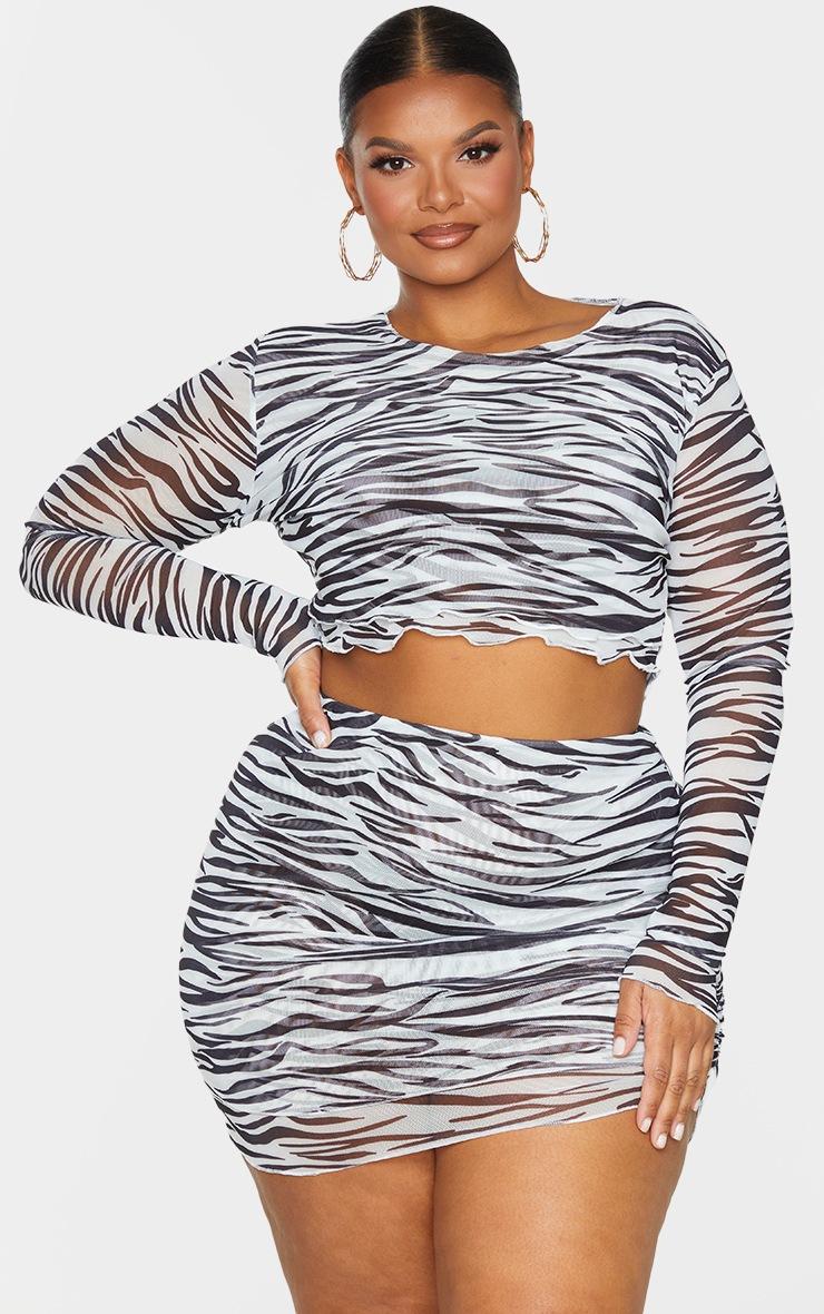 Plus Black Zebra Print Mesh Layered Skirt 4