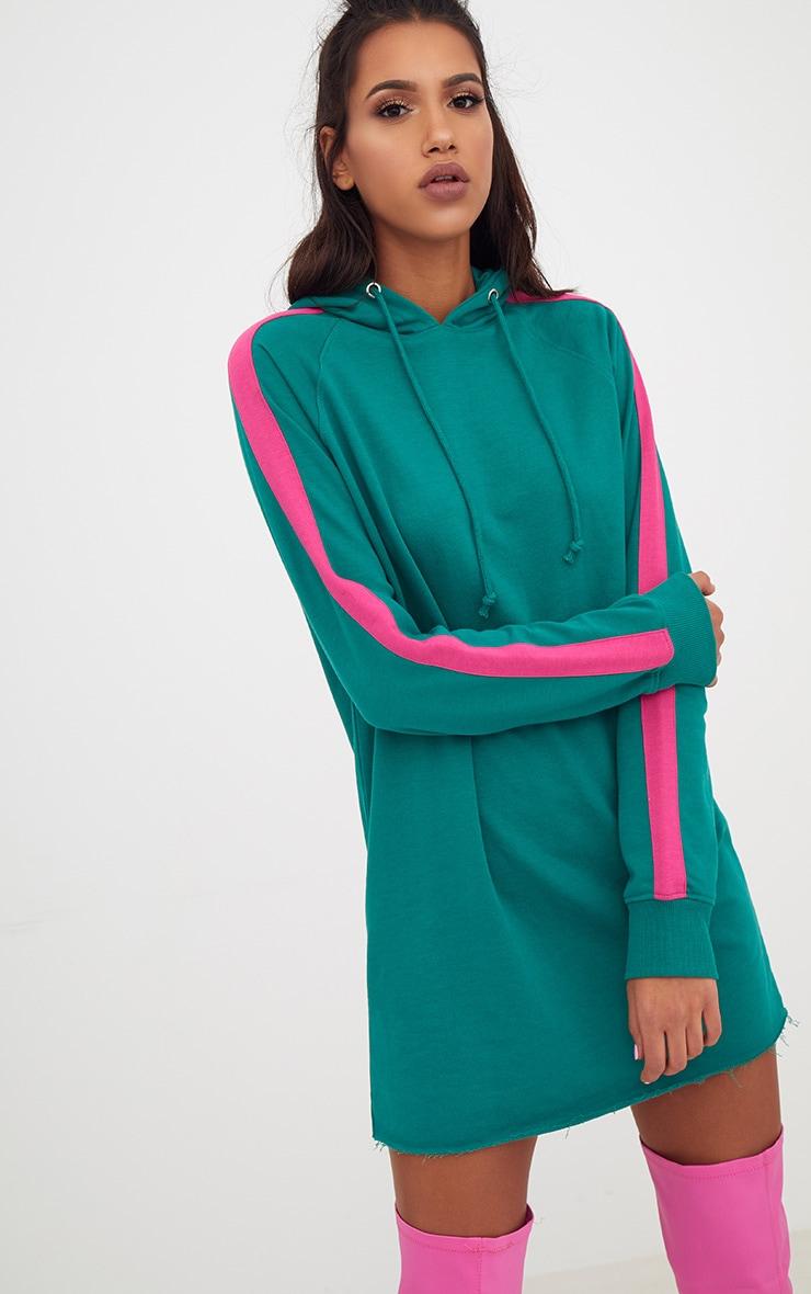 Green Loop Back Hooded Sports Stripe Sweater Dress 4