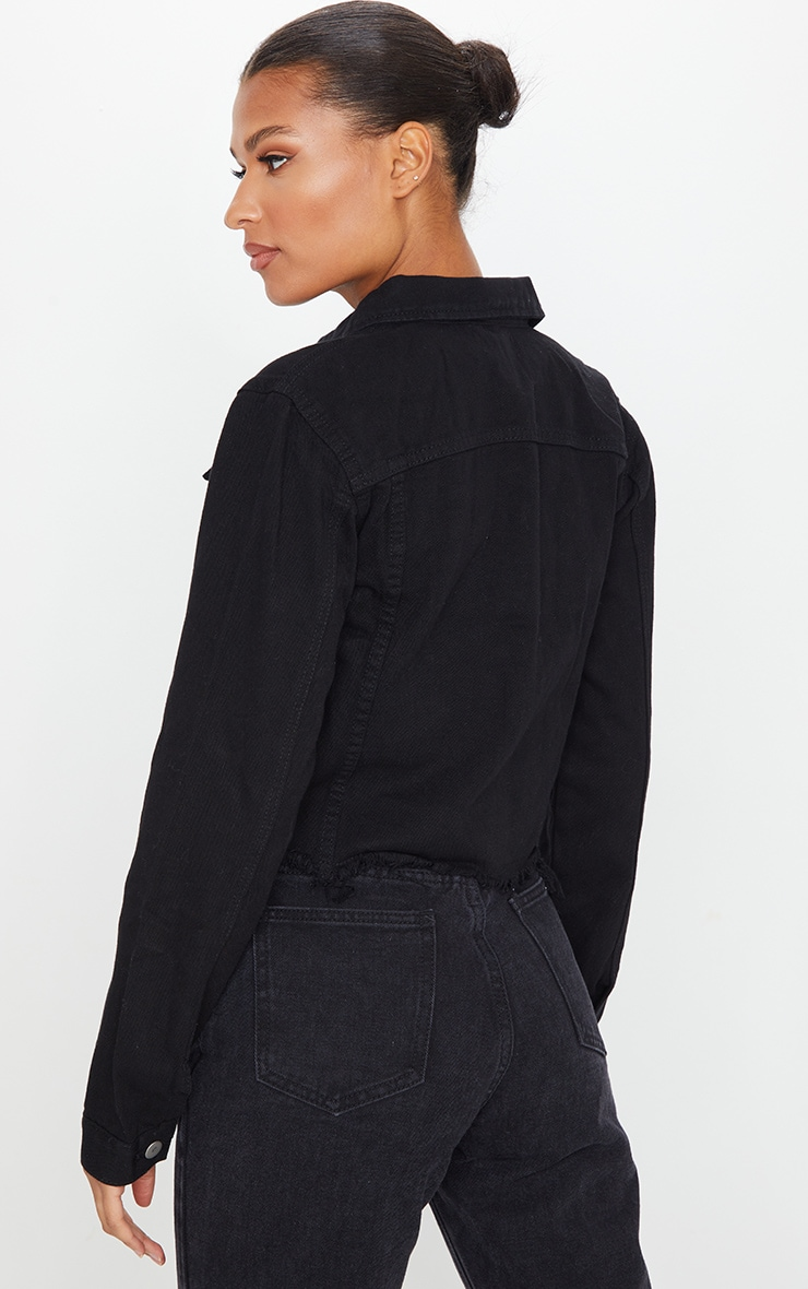 Black Basic Raw Hem Cropped Denim Jacket 2