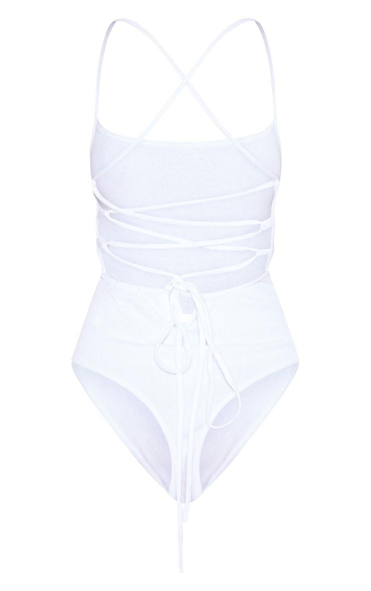 White Rib Strappy Back Thong Bodysuit 4