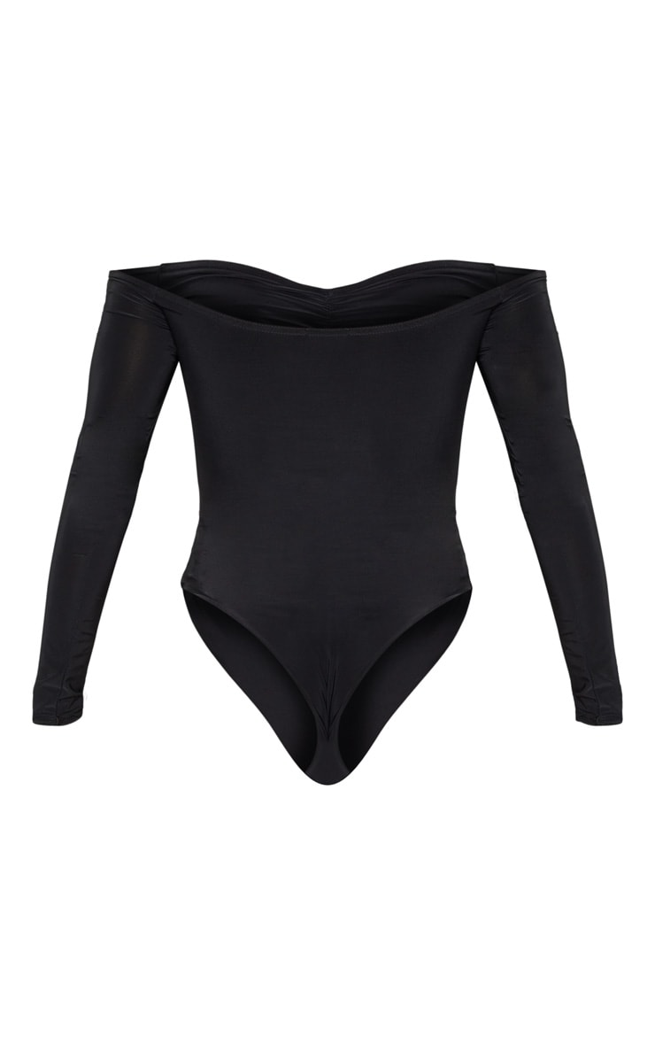 Mella body-string chic froncé bardot noir 4