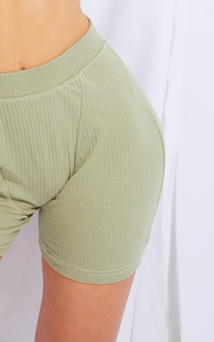 Sage Green Structured Rib Seam Detail Shorts 5