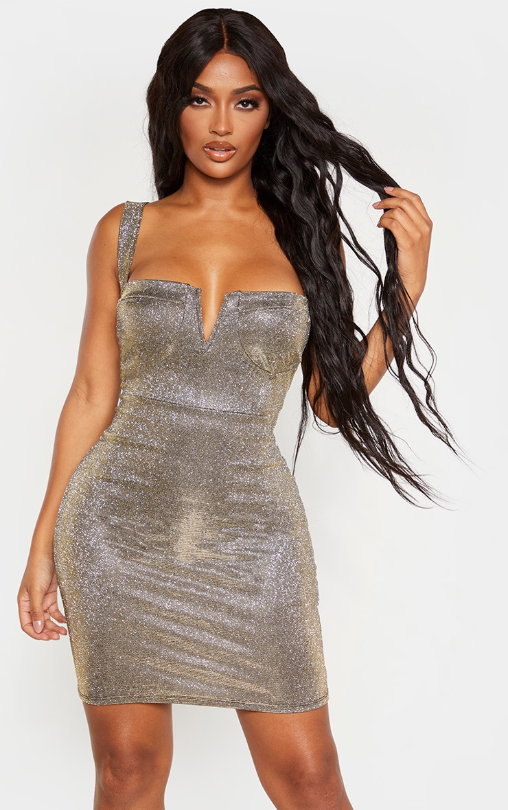 Shape Gold Glitter Cup Detail Bodycon Dress 1