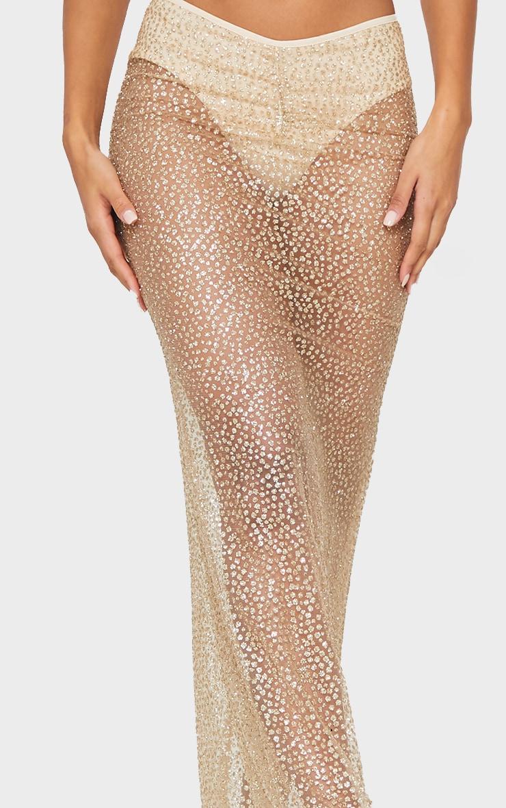 Gold Glitter Printed V Waist Sheer Maxi Skirt 4