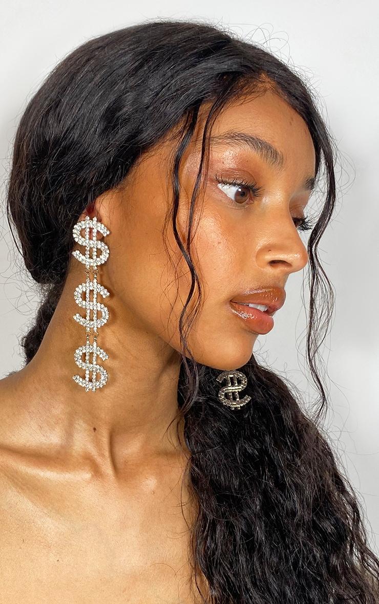 Silver Diamante Drop Dollar Earrings 1