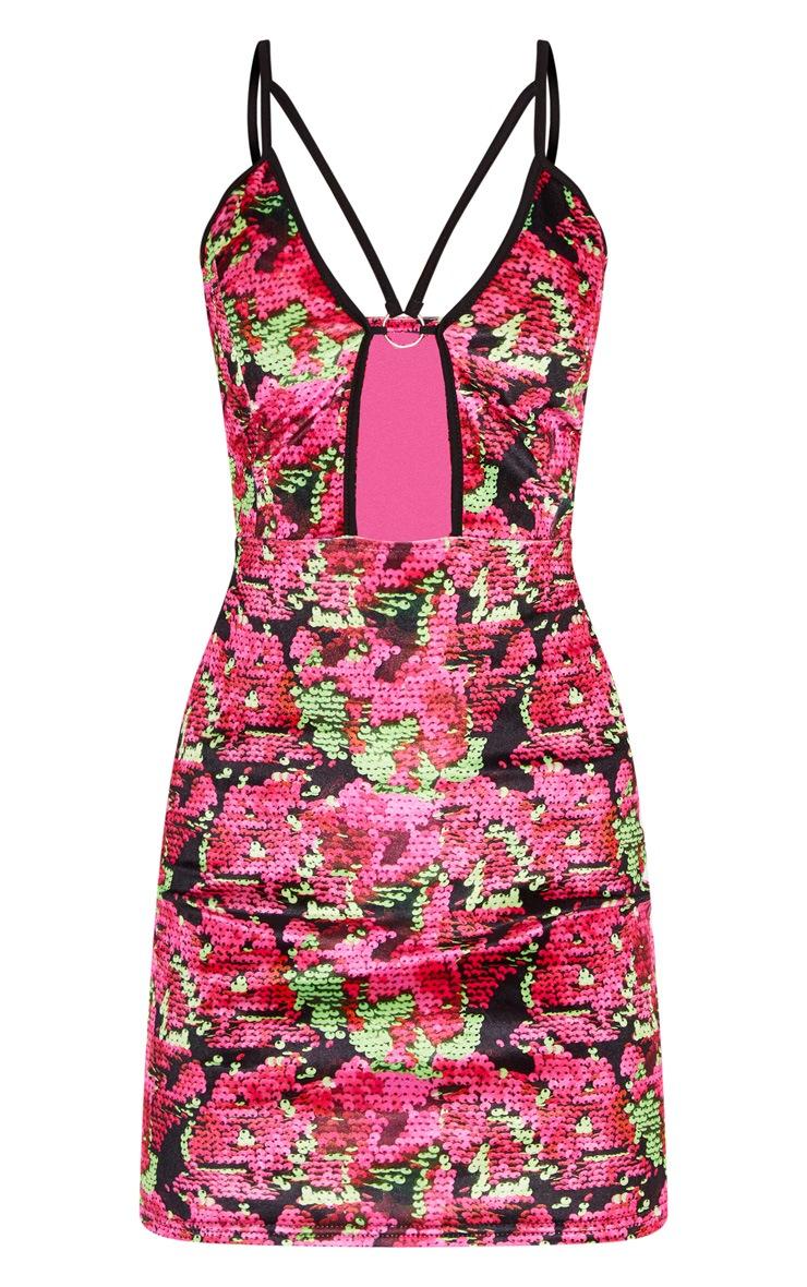 Printed Velvet Strappy Plunge Bodycon Dress 3