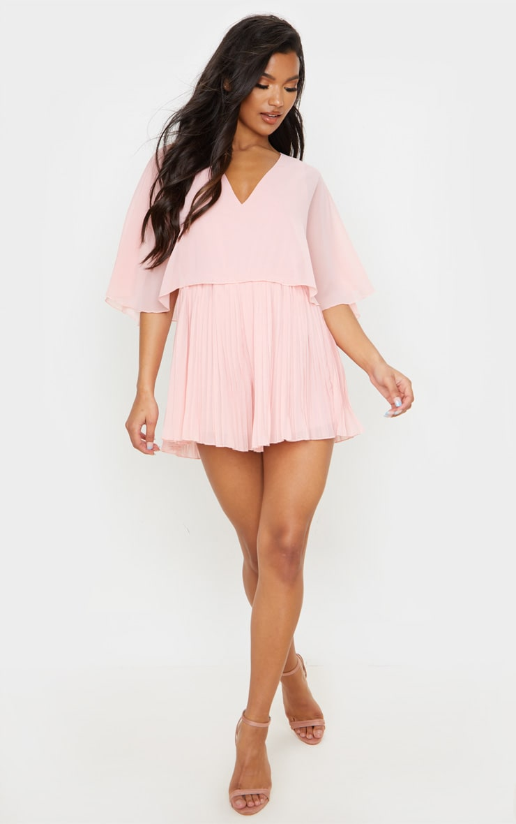 Dusty Pink Cape Pleated Detail Playsuit 3