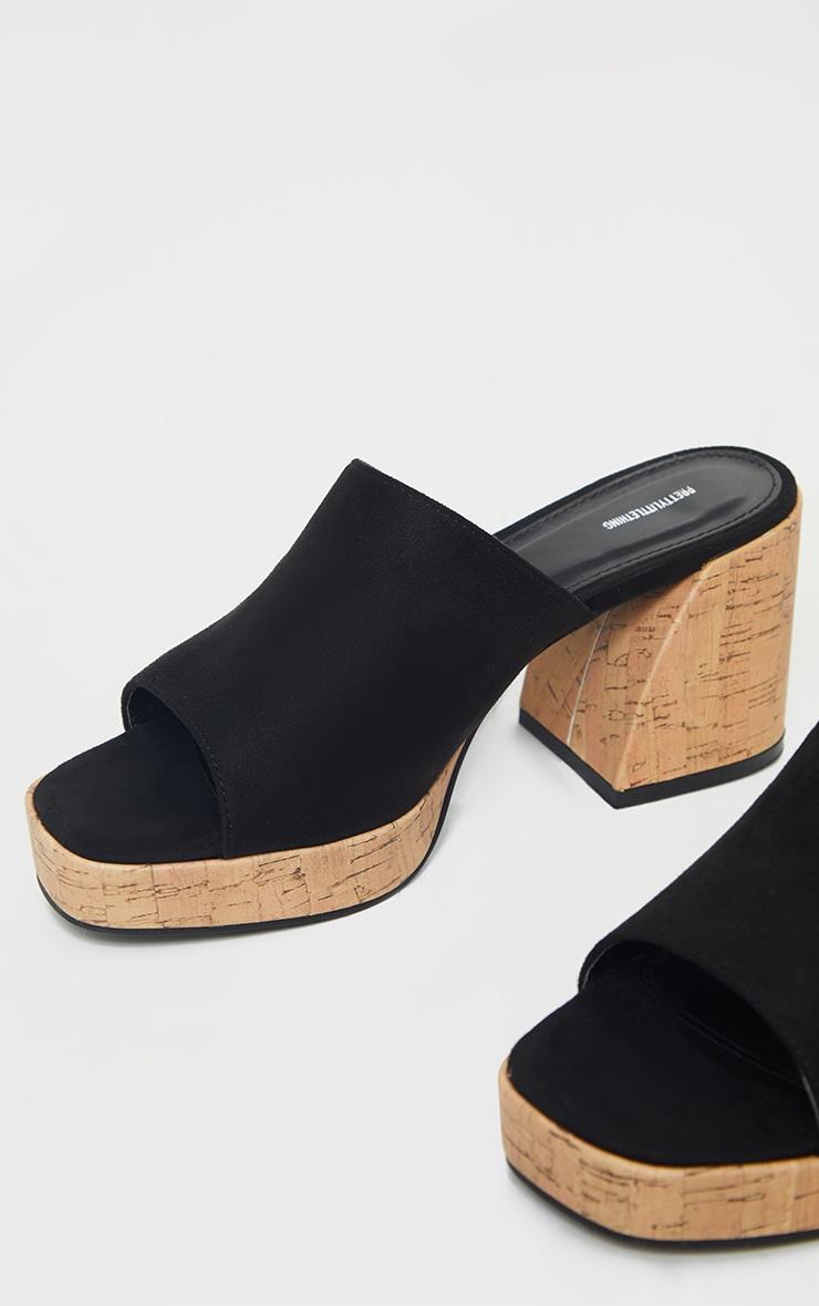 Black Cork Extreme Chunky Heel Platform Mules 3