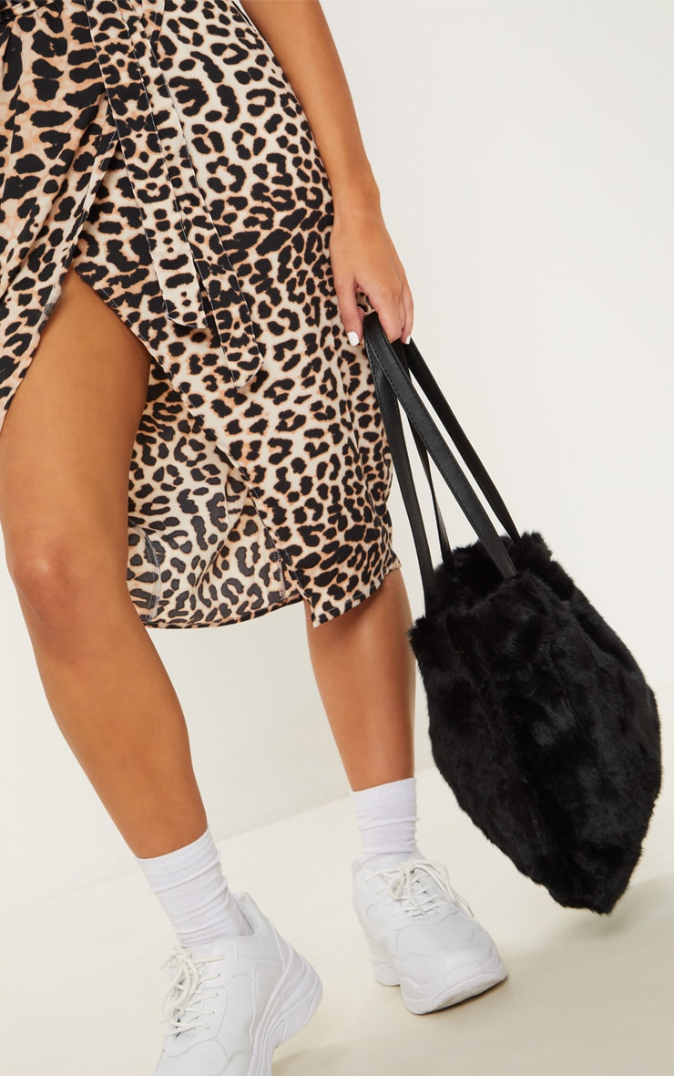 Black Faux Fur Tote Bag