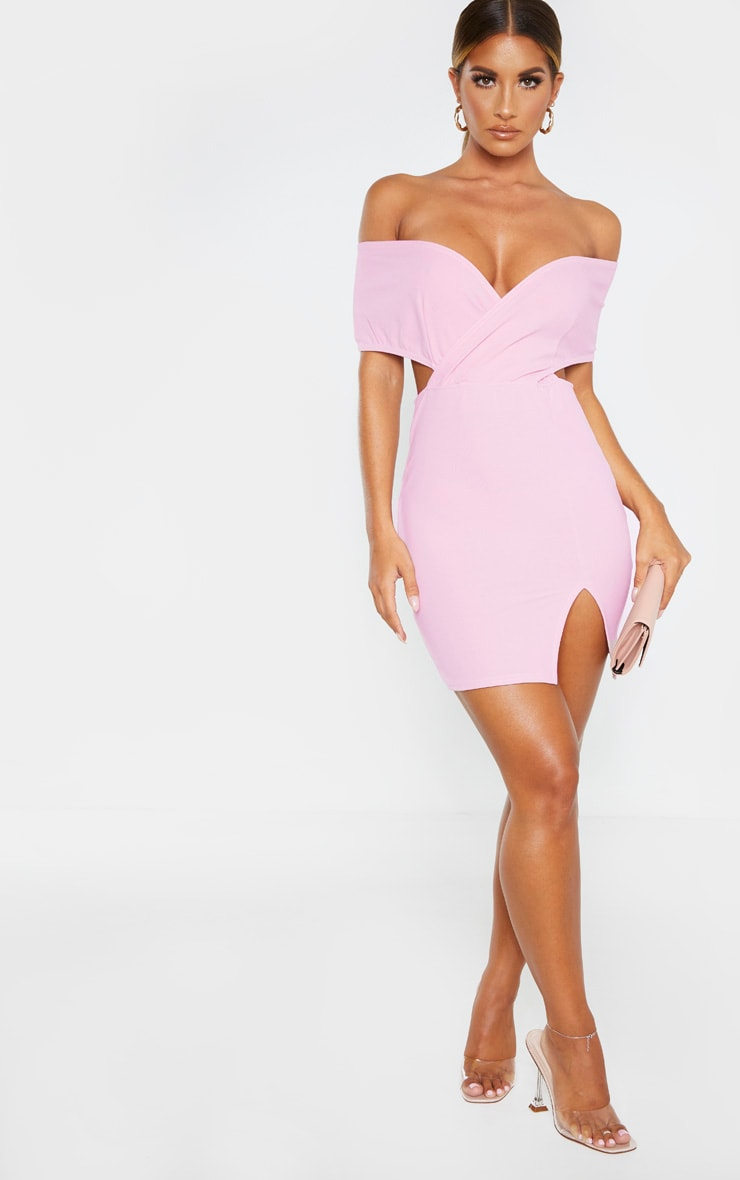 Dusty Lilac Bardot Thigh Split Bodycon Dress 4