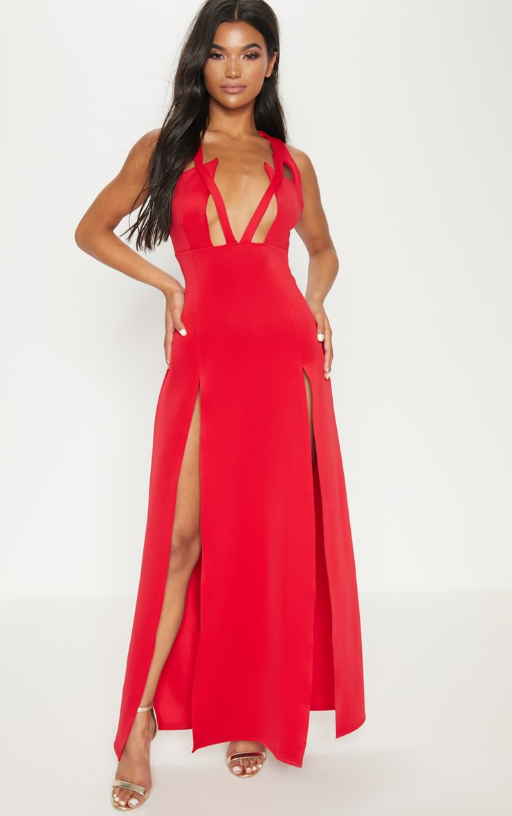 Red Pointy Bust Detail Extreme Split Maxi Dress 1