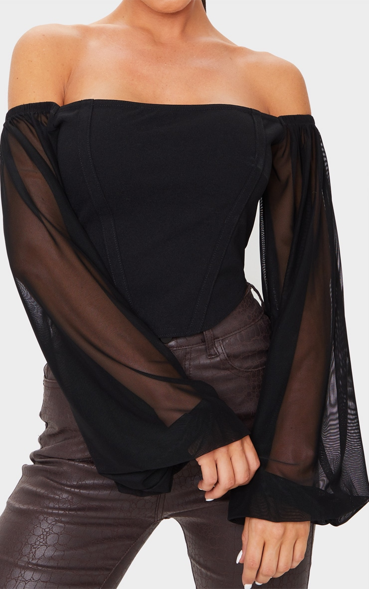 Black Crepe Bardot Chiffon Sleeve Crop Top 4