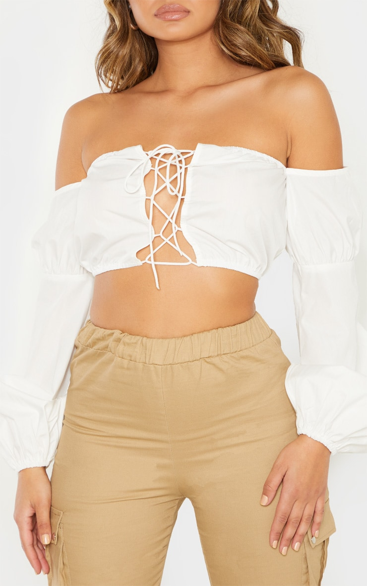 White Crochet Lace Up Bardot Long Sleeve Top 5
