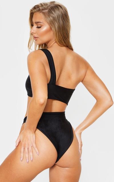 Black Cut Out Double Strap Swimsuit