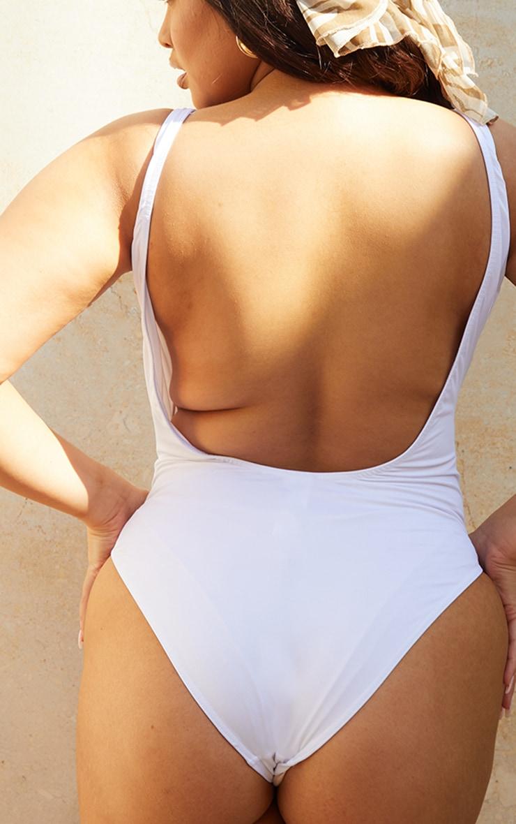 PLT Plus Recycle - Maillot de bain blanc à col rond au dos 4