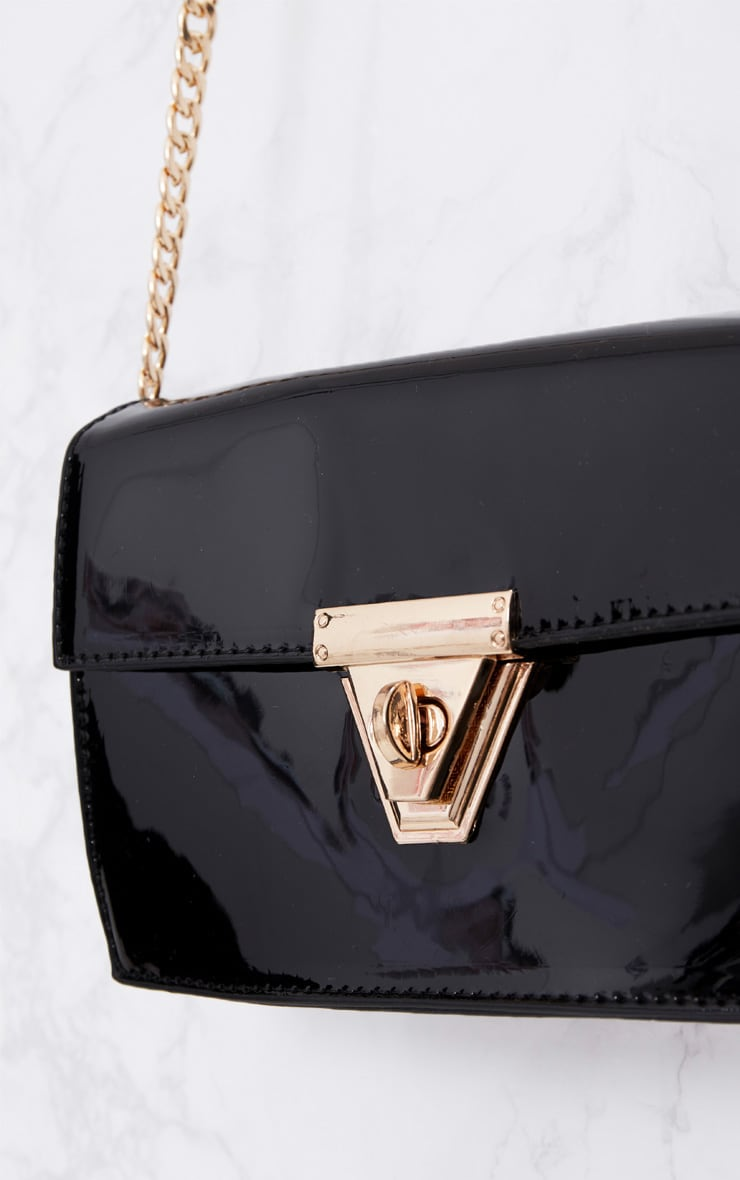 Black Patent Clasp Chain Body Bag 5