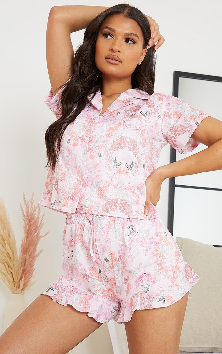Pink Floral Satin Shirt And Ruffle Short PJ Set 1