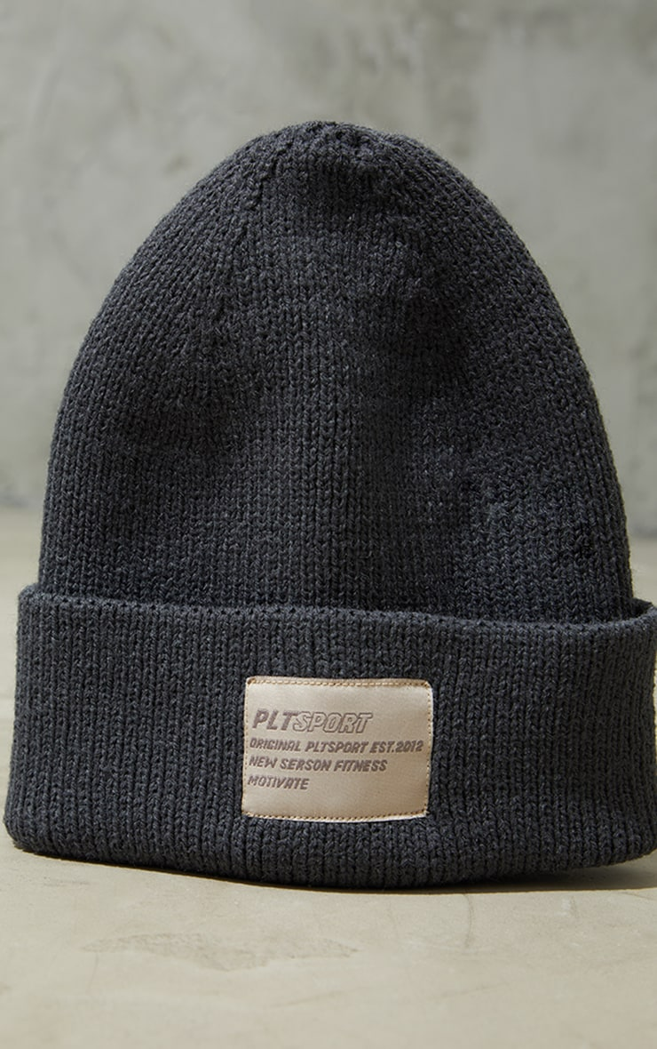 PRETTYLITTLETHING Charcoal Sports Beanie 2